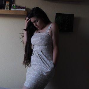 Vintage Inspired Neutral Midi Dress